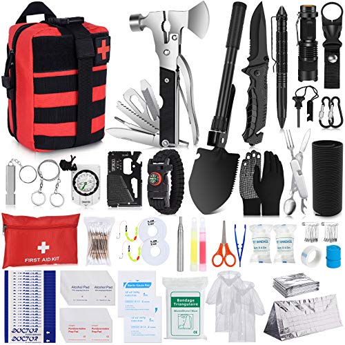 NAPASA Survival Kit 232 pcs Professional Survival Gear Emergency Tactical First Aid Kit Outdoor...