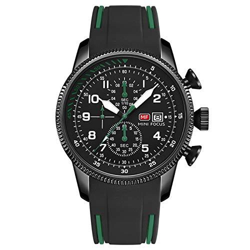 QZPM Reloj De Cuarzo para Hombre Multifunción Calendario Analógico 30M Impermeable Cronógrafo Correa En Silicona Relojes De Negocios,Verde