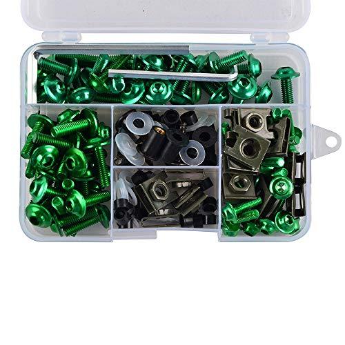 xiaghua369 Tornillos completar CNC carenado Tornillos Kit de carrocería Tuerca Ajuste for CBR1000F CBR1100XX NC700X RC51 VTR1000F CB77 (Color : Verde)