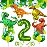 Anniversaire Dinosaure, Ballon 2 An, Ballon Numéro 2 Vert, Ballon 2 Anniversaire Helium, Dinosaure Décorations Anniversaire, Ballon Anniversaire 2 Ans Garcon, Ballon Chiffre 2