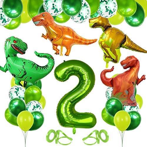 Decoracion Cumpleaños Dinosaurios, Globo Numero 2 Verde, Globos Dinosaurios, Globos de Cumpleaños 2 Años, Globos Grandes Gigantes Helio, Globos para Fiestas de Cumpleaños