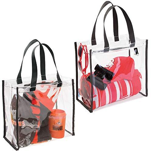 mDesign sac de voyage pour transport d'accessoires (lot de 2) – sac de plage pour produits de soins ou cosmétiques – sac cabas spacieux et pratique en vinyle PVC et polyester – transparent/noir