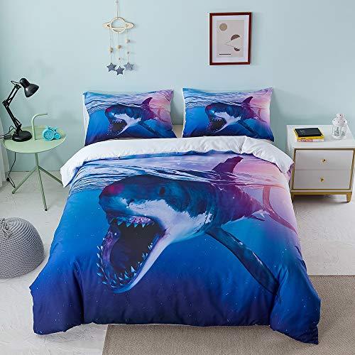 GDGM Juego de ropa de cama para niños, ropa de cama con delfines, impresión digital 3D, delfín azul, medusas, tiburón, mundo submarino, funda nórdica y funda de almohada (A,155 x 220 cm + 75 x 50 cm)