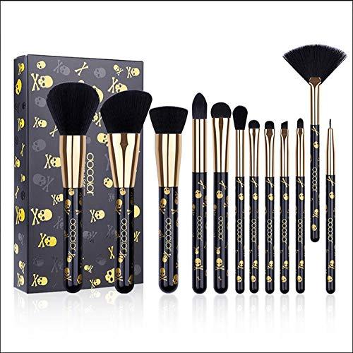 12 Pcs Professionnel Maquillage Brosse Kabuki Fondation Mélange Brosse Poudre Pour Le Visage Blush Set Correcteurs Ombres À Paupières Maquillage Brosses Kit-black