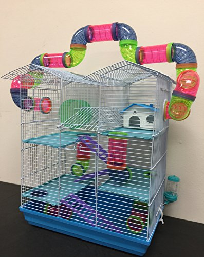 New Large Twin Towner Syrian Hamster Rodent Gerbil Mouse Mice Habitat Wire Animal Cage Long Crossing Tube