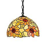 AIFUDE Pastoral rústico moderno de 12 pulgadas Tiffany lámpara de techo del vidrio manchado de Tiffany lámpara colgante del diseño del girasol