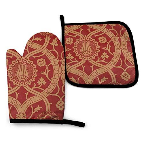 ZHSL Guante para horno y agarradera, y Ccedil; atma Damask Oven Glove Set de guantes y soporte para macetas, guante para horno resistente al calor avanzado, soportes de olla con agarre texturizado ant