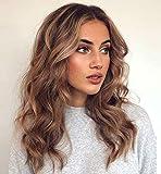 VEBONNY Ondulado Bob Dark Rooted Hair Brown Lace Front Pelucas para mujeres Cabello mixto rubio claro Pelucas marrones 18 pulgadas