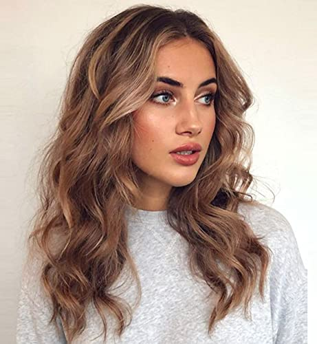 VEBONNY Loose Curly Brown Lace Front Wigs for Women Mixed Light Blonde Hair Brown Wigs Natural Looking Brown Ombre Wigs 18 inch VEBONNY-049-18