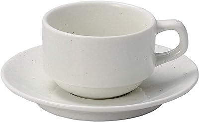 山下工芸 カップ_ソーサー 磁器 φ8.2×5.6cm(190cc) 粉引黒斑点スタック兼用碗と受皿 15054200