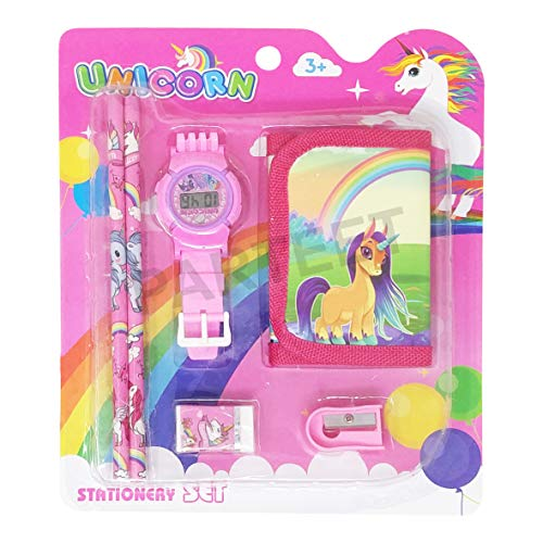 Parteet Mix Stationery Gift Set with Wrist Watch for Kids (Pink)
