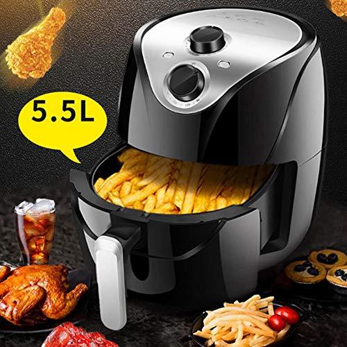 HKDJ-5,5L Air Fryer met Rapid Air Circulation System, voor friemen, ribs, taarten, kip, steak, vis, instelbare timer en temperatuur, veilig auto-shut-off-functie