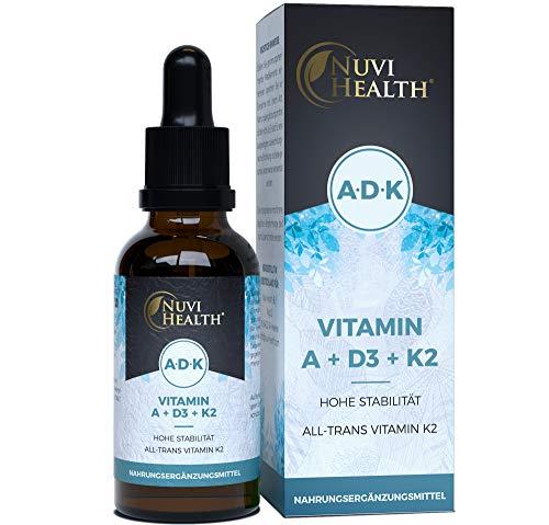 Vitamin A + D3 + K2 Tropfen - 50 ML - Premium: 99,7+{46c35bb9aa3b37f27d16dd373b7167a2182c6e03ccc96da94d949873431fecce} All-Trans (K2VITAL® von Kappa) + hoch bioverfügbares Vitamin D3 + A (Retinol) - Flüssig - Laborgeprüfte Qualität