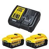 Dewalt 2 x DCB182 18V Li-Ion 4.0Ah batería Twin Pack & DCB115 Kit de Cargador, 18V