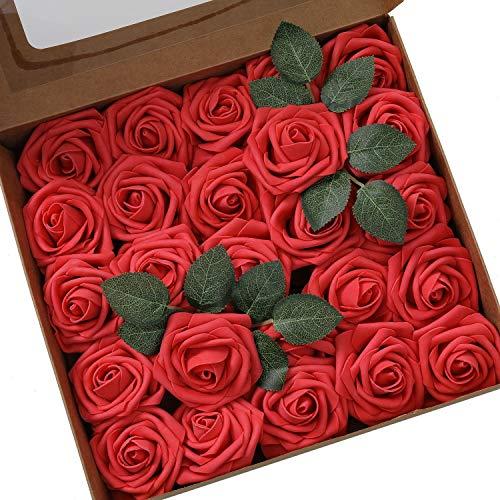 Künstliche Rosen Blumen Schaumrosen Foamrosen Kunstblumen Rosenköpfe Gefälschte Kunstrose Rose DIY Hochzeit Blumensträuße Braut Zuhause Dekoration (25 Stück, Rot)