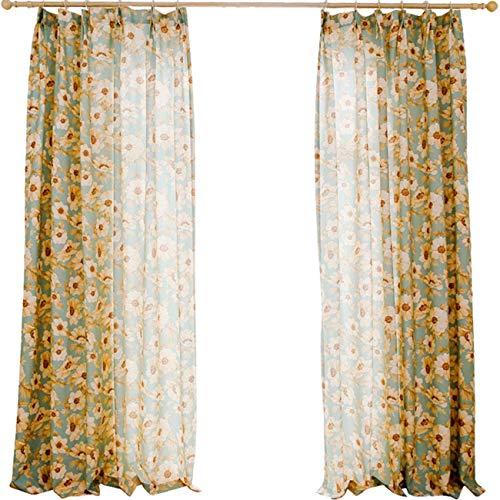 FCXBQ Vorhang Einfache amerikanische Vorhänge, Pastorale Landdrucke, halbschattige Baumwolle und Leinen, Wohnzimmer im Schlafzimmer, Fenster, Fliegengitter, Vorhänge, 250 x 270 cm (B x H) x 2, A