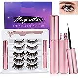 Qnlly Magnetic Eyeliner and Lashes Kit,5 Pairs Reusable Multi Styles Magnetic Lashes with Eyelash Tweezer, Magnetic Eyeliner No Glue(2020 Upgraded)