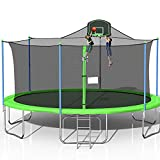 1000LBS Tranpoline for Adults and Kids, 16FT Large Tranpoline with Safety Enclosure Net, Basketball Hoop and Ladder, Spring Pad Mat, Capacity for 6-8 Kids【CPC, ASTM and Chemical Test Approved】