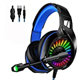 WZTO Auriculares Gaming para PS4, PC, Xbox One, Auriculares con Micrófono RGB LED, Casco Gaming Auriculares para Nintendo Switch Playstation móvil Computadora Móvil