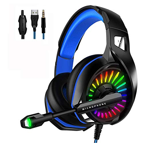 WZTO Gaming Headset für PS4, PC Xbox One Gaming Kopfhörer mit Mikrofon Stereo Surround Bass Sound 3.5 mm Schnittstelle mit LED Licht Professional Headset für Nintendo Switch Mobile Computer