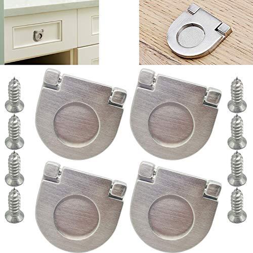 CTRICALVER 4pcs Acciaio Inossidabile Maniglie Invisibili |Argento Maniglie e pomelli cassetti per Ante di mobili |per porte per armadio da cucina armadio cassetto (35mm)
