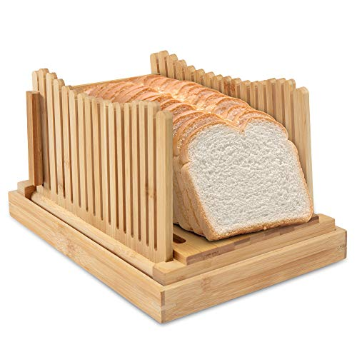 Ivation Folding Bread Slicer | Collapsible, Easy to Use Cutting Guide w/ Detachable Crumb Catcher & Serving Tray | Accurately Slice Bakery-Fresh & Homemade Bread with Ease