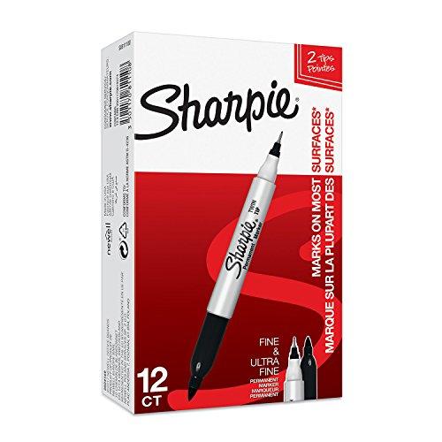 Sharpie Doppelseitiger Permanent Marker   Marker Stifte mit Doppelspitze   schwarz   12Stück Market Set