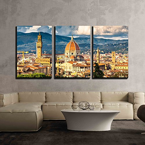 """wall26 - 3 Piece Canvas Wall Art - View on Florence and Duomo Cathedral, Italy - Modern Home Decor Stretched and Framed Ready to Hang - 24""""x36""""x3 Panels"""