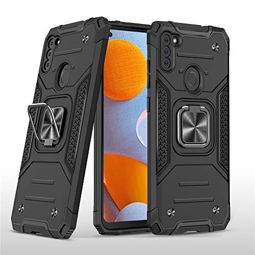 Capa XYX compatível com Galaxy A11 com suporte de anel de metal com rotação de 360 para carro magnético compatível com Samsung A11 – Preto