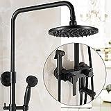 GFEI Cabeza de ducha de antiguo estilo americano negro Set / Forma del Bronce Retro válvula fría y caliente polla con pistola, la lluvia