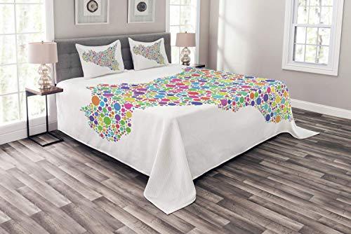 DayToy Sizilien Tagesdecke, Süditalien Inselkarte Abbildung als Mosaik aus Harlekinblasen dargestellt, dekorative Gesteppte 3-teilige Bettdecke mit 2 Kissenbezügen, 177X218CM
