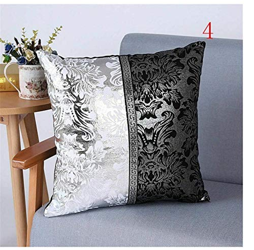 Zwzxyz New Luxury Cushion Covers Bolster Black and Silver Pillow Cases Shells for Couch Sofa Home Decoration Vintage Floral Decorative