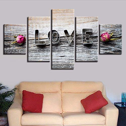 Cczxfcc HD Prints Modular Canvas Letters Schilderij 5 stuks Roze Bloem en foto's Liefde Slaapkamer Decoratie Moderne kunst 10x15/20/25cm-contiene Telaio