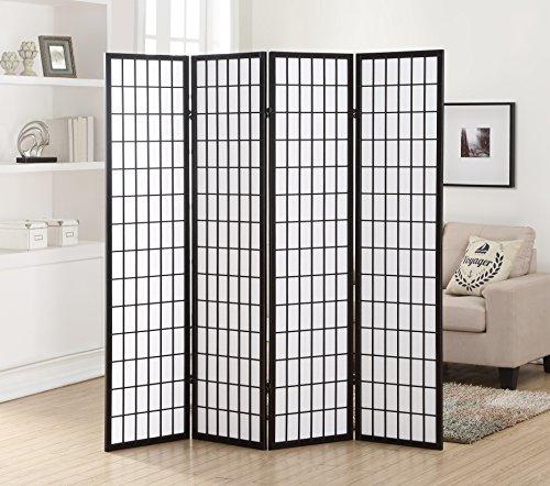 Roundhill Furniture 6 Panel Oriental Shoji Screen Room Divider, Black