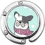 Crochet de Sac à Main Dessiner caractère Design Bouledogue français Neige Pliant Sac à Main Table Cintre-Sac Cintre Collection-Bureau Crochets