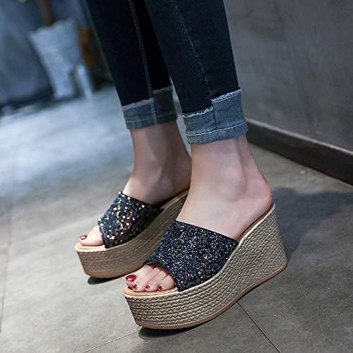 Cxypeng Sandalias de Punta Descubierta para Mujer,Summer USA Elegantes Sandalias y Zapatillas de Suela Gruesa, Zapatos de cuña sexys y Brillantes-Black_40,Chanclas Thong