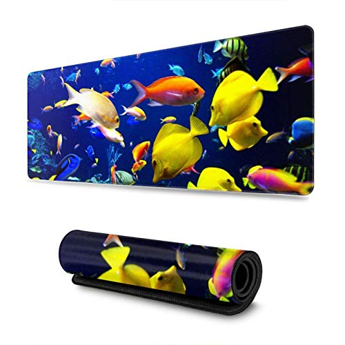 Marine Tropical Fish Gaming Mouse Pad XL Extended Large Mouse Mat Desk Pad Stitched Edges Mousepad Long Non-Slip Rubber Base Mice Pad 31.5 X 11.8 Inch