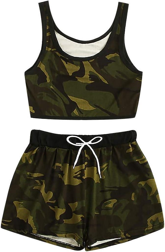 WSVVMQY 2021 2PCS Fashion Women Suit Camo Print Top Tank Top Vest+Drawstring Waist Shorts Set