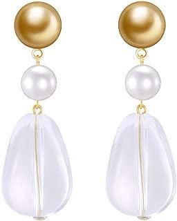 925 Silver Needle High Light Imitation Pearl Copper Earrings European And American Fashion Resin Earrings Personality Retro Light Luxury Earrings