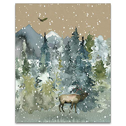 Wilderness Wall Art - Forest Wildlife Rustic Cabin Farmhouse Decor for Home - Mountain Landscape Print - Camping Picture - National Park Artwork - Nature Lover Painting - 8x10 UNFRAMED