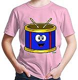 Hariz - Camiseta para niño con texto en inglés 'Trommel Lachend Instrumente' Rosa. 10 años