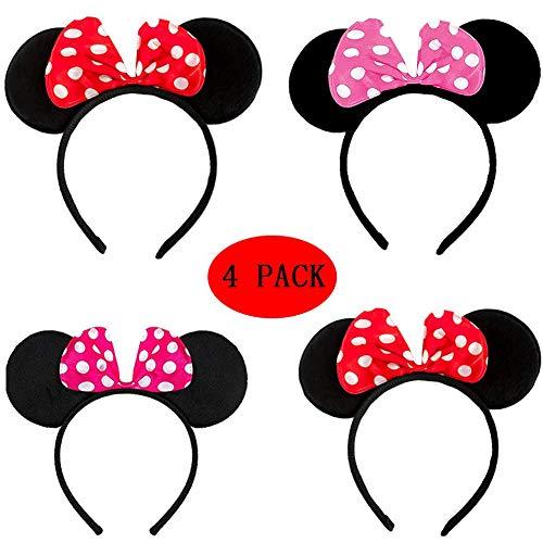 BESTZY 4 Pieza Mickey Minnie Diademas, Orejas Minnie Mouse con Lazo de satén Rojo Orejas Mickey Mouse para Cumpleaños Fiestas Halloween