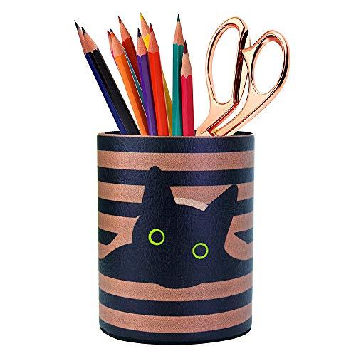 HEYGO Black Cat Pen Holder, Pencil Holder Desk Organizer for Women Girls, Makeup Brush Holder, Ideal Gift for Office, Classroom, Home (blackCat)