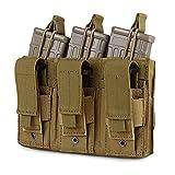 Obemisk Triple Molle Mag Pouch, Pistol Magazine Pouch Open Top Tactical Rifle Pouch for M4 M16 AK AR Magazine Glock M1911 92F 9mm, Tan