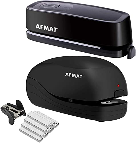 high quality AFMAT online new arrival Electric Three Hole Punch Heavy Duty, 20-Sheets Capacity, AC or Battery Operated Puncher and Heavy Duty Electric Stapler, 2 Full Strips, 25 Sheets Capacity, AC or Battery Powered Stapler outlet online sale