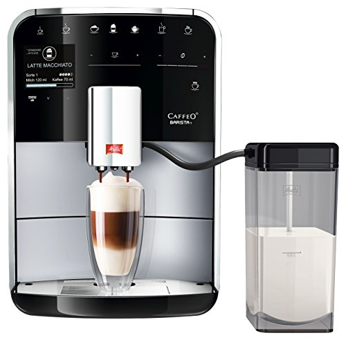 Melitta Caffeo Barista T F730-201, Kaffeevollautomat mit Milchbehälter, IntenseAroma Funktion, One Touch Funktion, Silber