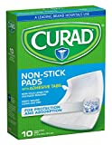 Curad Sterile Non-Stick Pads with Adhesive Tabs, 3 x 4 inches, Easy to Apply, Ouchless Removal, 10 Count (Pack of 3)