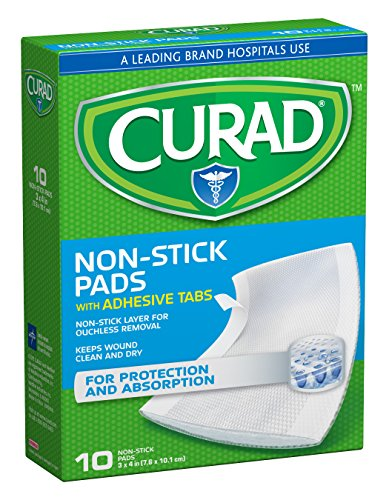 Curad CUR47148NRB Medium Non-Stick Pads, 10 Count, Pack of  3