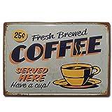 BOEMY Chapa Vintage Cafe. Placa Decorativa de Metal [con Relieve y Gran Rigidez] de Café para Pared...