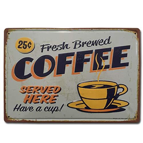 BOEMY Chapa Vintage Cafe. Placa Decorativa de Metal [con Relieve y Gran Rigidez] de Café para Pared de Cafetería, Bar, Restaurante, Cocina o Comedor. Medidas 20x30 cm.